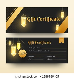 Front and back view of Gift Certificate or horizontal template design with discount offer and illuminated lanterns.