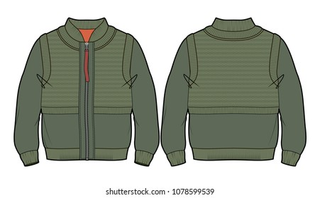 Front and back view of a green bomber jacket with imitation of put on knitted vest