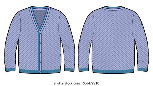 Front and back view of a knitted cardigan