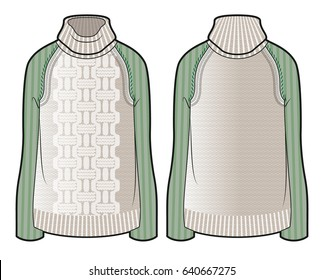 Front and back view of knitted sweater with contrast sleeves