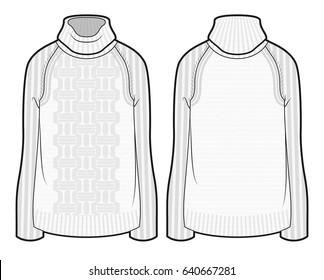 Front and back view of knitted sweater with pattern