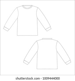 Front and back view of long sleeves shirt. vector template