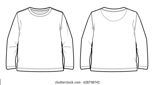 Front and back view of a long-sleeved T-shirt