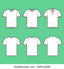 Front and back view of men's clothing set. Blank wear templates. T-shirt, raglan shirt, polo. Casual style. Vector illustration for your fashion design.