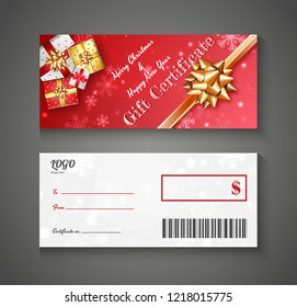 Front and back view of Merry Christmas & Happy New Year Gift Certificate for Festival celebration concept.