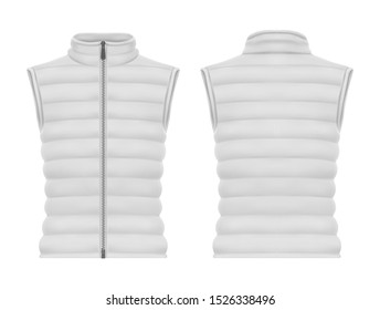 Front and back view on vest jacket or sleeveless puffer closeup, waistcoat mockup. Warm apparel with zap or blank man and woman winter wear. Male and female quilted clothing and fashion, winter