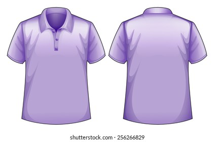 front and back view of purple shirt