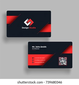 Front and back view of Red and Black Business card with abstract design.