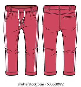 Front and back view of red joggers with elasticized ribbing and drawstring at waist