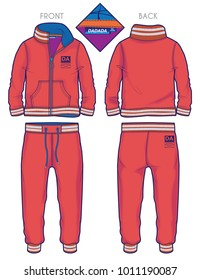 Front and back view of a red tracksuit with ribbed cuffs and contrast details