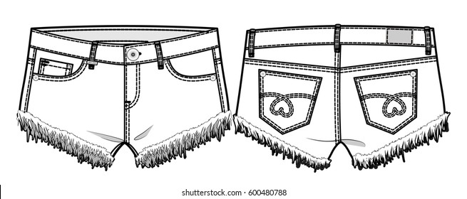 Front and back view of shorts. Tech sketch for product development