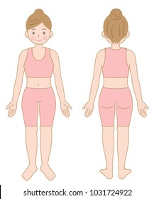 front and back view of standing female body. Isolated illustration on white background