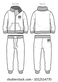 Front and back view of a tracksuit with ribbed cuffs