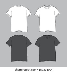 Front and back views of blank t-shirt