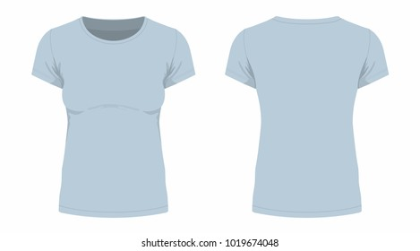 Front and back views of women's gray t-shirt on white background