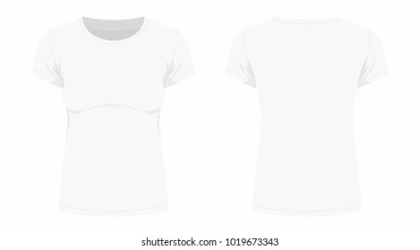 Front and back views of women's white t-shirt on white background