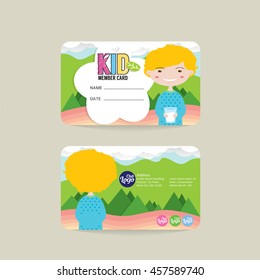 Front And Back VIP Kids Member Card Template Vector Illustration
