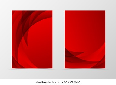 Front and back wave flyer template design. Abstract template with red lines in dynamic style. Vector illustration