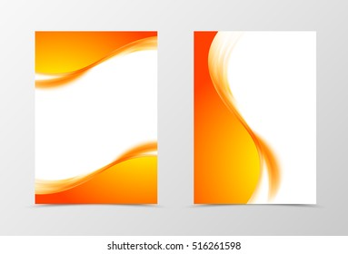Front and back wave flyer template design. Abstract template with orange lines in bright soft style. Vector illustration