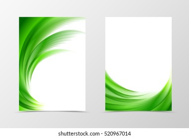 Front and back wave flyer template design. Abstract template with green lines in swirl soft style. Vector illustration