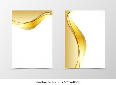 Front and back wave flyer template design. Abstract template with golden lines in material design style. Vector illustration