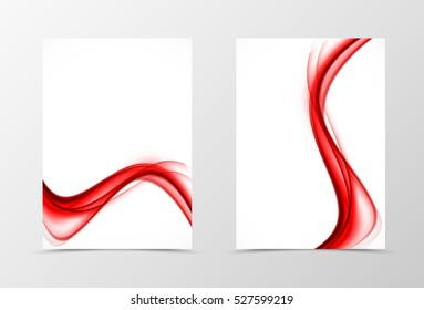 Front and back wave flyer template design. Abstract template with red transparent lines in soft style. Vector illustration