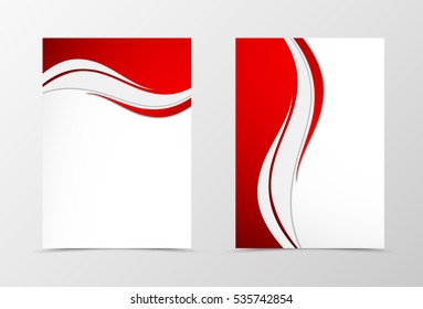 Front and back wave flyer template design. Abstract template with red and gray lines in dynamic style. Vector illustration
