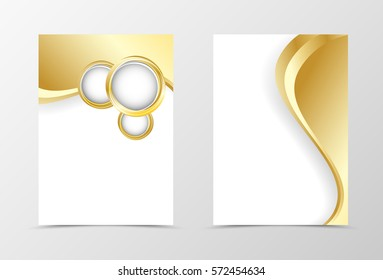 Front and back wave flyer template design. Abstract template with golden bent lines and circles in dynamic light style. Vector illustration