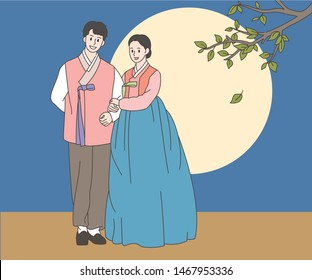 In front of the big full moon stands a man and a woman in Korean traditional costume. hand drawn style vector design illustrations.