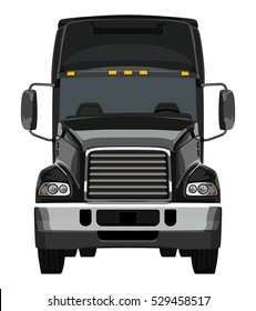 Front black truck on white background
