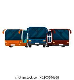 front busses transport cities travel