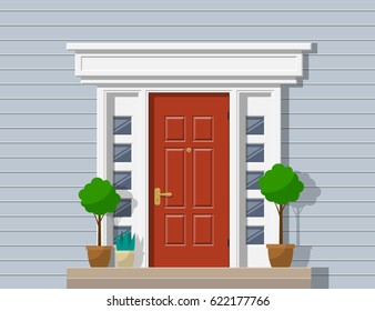 front classic door  porch with plants house exterior