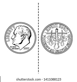The front of the coin has President Franklin Roosevelt's profile, and reverse has an olive branch, a torch and an oak branch from left to right, vintage line drawing or engraving illustration.