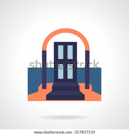 front door with arch and stairs with carpet  symbols for rent of property,  housing
