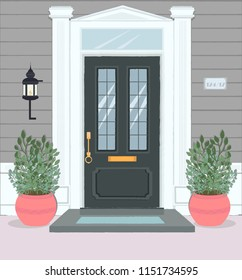 Front Door House Exterior Entrance. Editable vector illustration