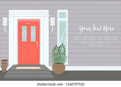 Front Door House Exterior Entrance. Web Banner Template Background.  Editable Vector Illustration