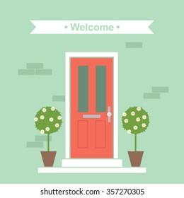 Front Door House Exterior Entrance Vector Illustration