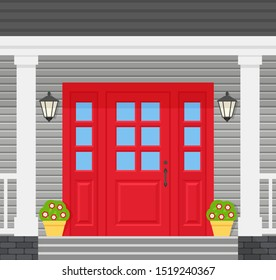 Front door house. Vector. Home porch with red door, lanterns, stairs and plants. Gray facade. Building entrance, doorstep. Modern outside architecture in flat design. Cartoon illustration