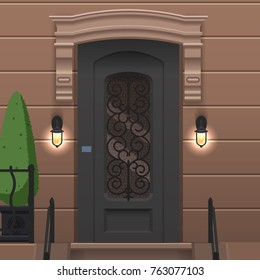 Front door on the wall with two lights. Vector building element. Cartoon house illustration
