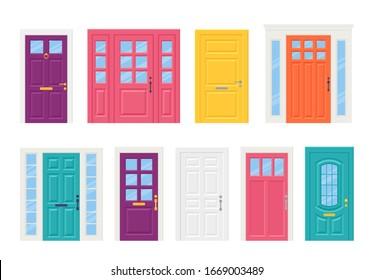 Front door. Vector. Set of house doors isolated on white background. Cartoon illustration. Building entrance, doorway.