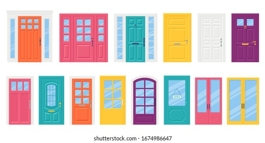 Front door. Vector. Set house doors in flat design isolated on white background. Cartoon illustration. Building entrance. Closed doorways with doorknob, letterbox and knocker.