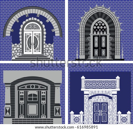 Front Doors Different Designs On Blue Stock Vector Royalty Free