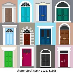 Front doors set. Facade. Flat design. Vector illustration.