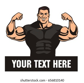 front double biceps pose, bodybuilder, vector image