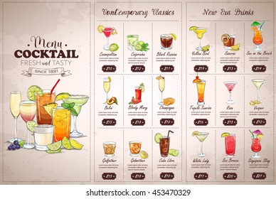 Front Drawing horisontal cocktail menu