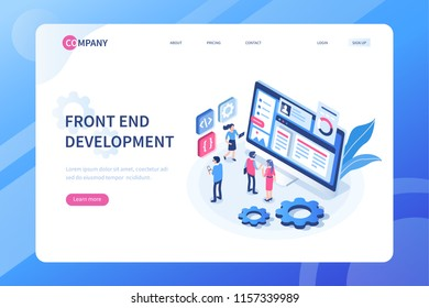 Front end development concept with characters. Can use for web banner, infographics, hero images. Flat isometric vector illustration isolated on white background.