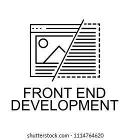 front end development icon. Element of web development signs with name for mobile concept and web apps. Detailed front end development icon can be used for web and mobile on white background