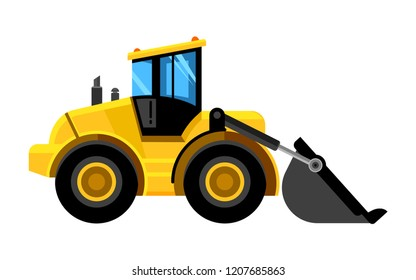 Front end loader. Bulldozer construct machines yellow digger work vehicles vector car isolated