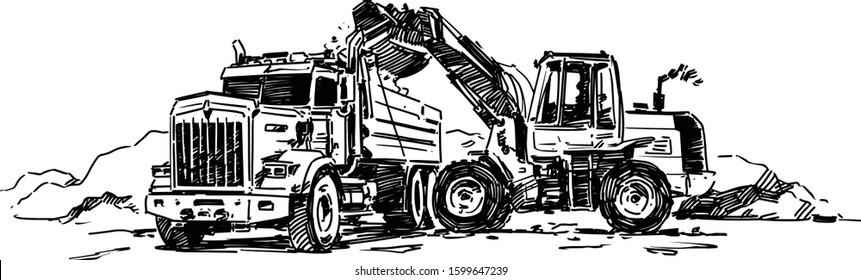 Front End Loader Loads Dump Truck