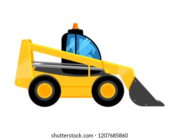 Front end yellow loader. Construct machines digger for work vehicles vector car isolated on white background